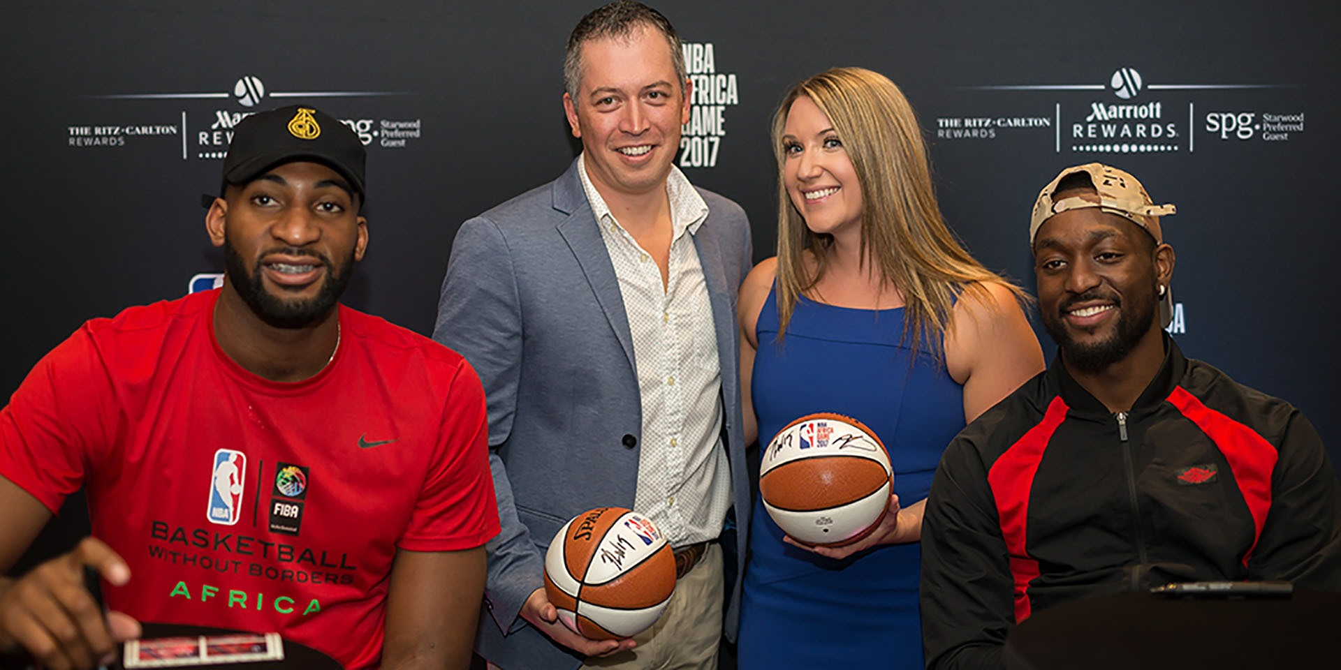 NBA players Andre Drummond and Kemba Walker mingled with members of Marriott Rewards and SPG at a private event at the African Pride Melrose Arch Hotel in Johannesburg, South Africa, to celebrate NBA Africa Game 2017