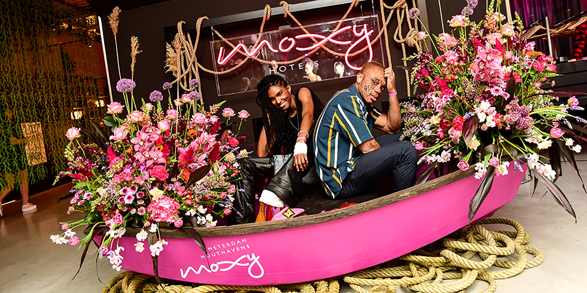 Filmmaker Ari Fitz attends the opening of Moxy Amsterdam Houthavens, the brand's first hotel in The Netherlands, along with Model Ralph Souffrant.